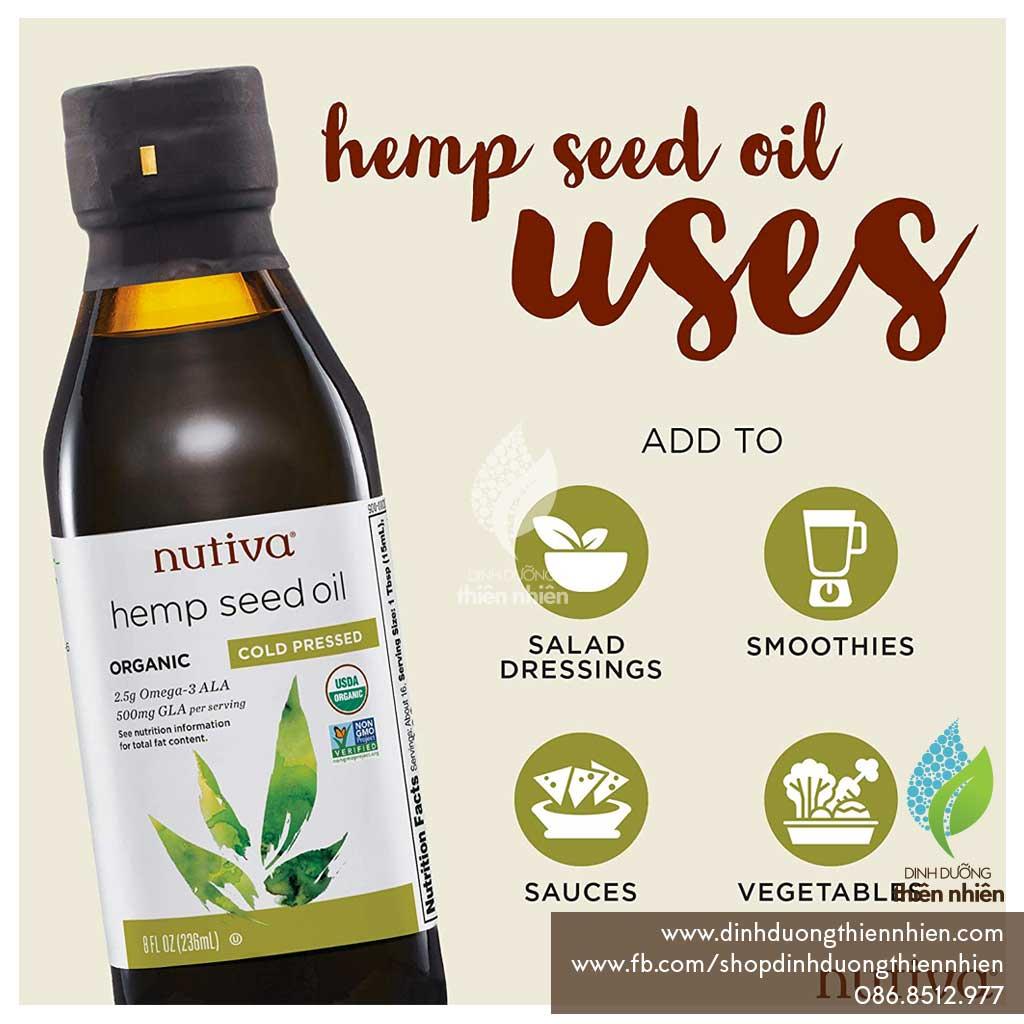 Dầu Hạt Gai Dầu Hữu Cơ Nguyên Chất Ép Lạnh Nutiva Organic Hemp Seed Oil,  237ml - Dinh Duong Thien Nhien